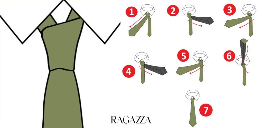 Завязать галстук тонкий пошагово